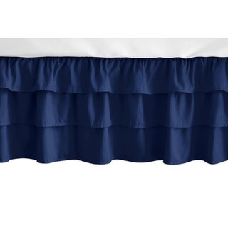 Sweet Jojo Designs Solid Navy Blue Woodland Fox Patch Girl Collection 3 Tiered Ruffled Crib Bed Skirt