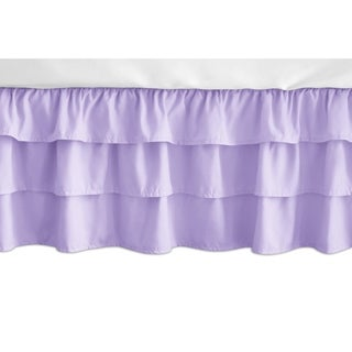 Sweet Jojo Designs Solid Lavender Pink and Purple Butterfly Girl Collection 3 Tiered Ruffled Crib Bed Skirt