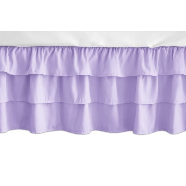 Sweet Jojo Designs Solid Lavender Pink And Purple Erfly Collection 3 Tiered Ruffled Crib Bed Skirt Free Shipping Today