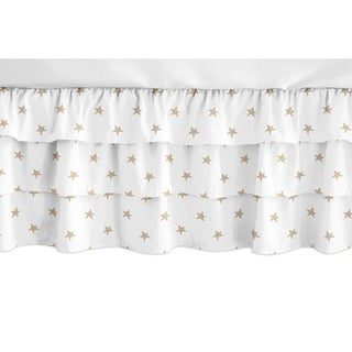 Sweet Jojo Designs Gold and White Star Celestial Girl Collection 3 Tiered Ruffled Crib Bed Skirt