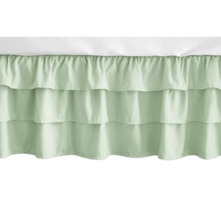 Sweet Jojo Designs Solid Mint Green Woodsy Girl Collection 3 Tiered Ruffled Crib Bed Skirt