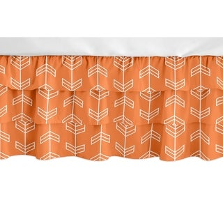 Sweet Jojo Designs Orange and White Arrow Arrow Girl Collection 3 Tiered Ruffled Crib Bed Skirt