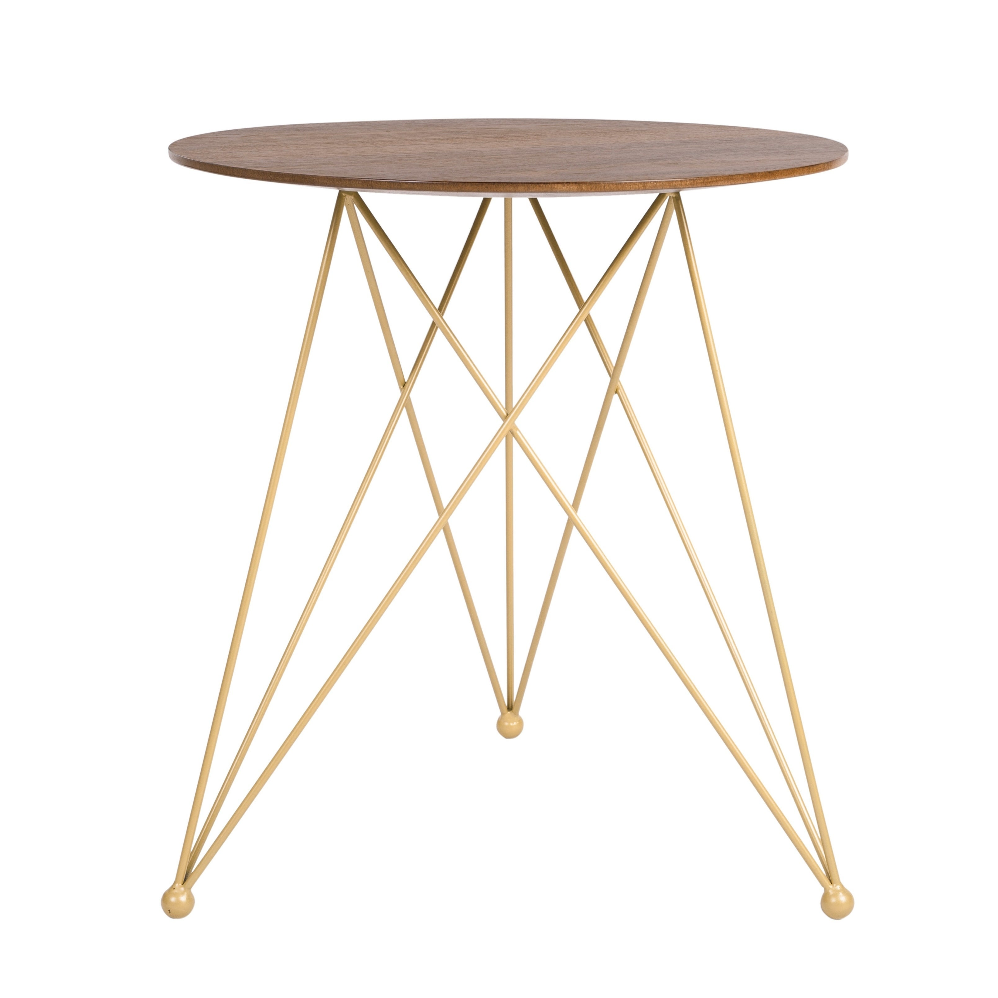 Elle Decor Livvy Burnt Sienna/Gold Wood and Metal Modern Side Table
