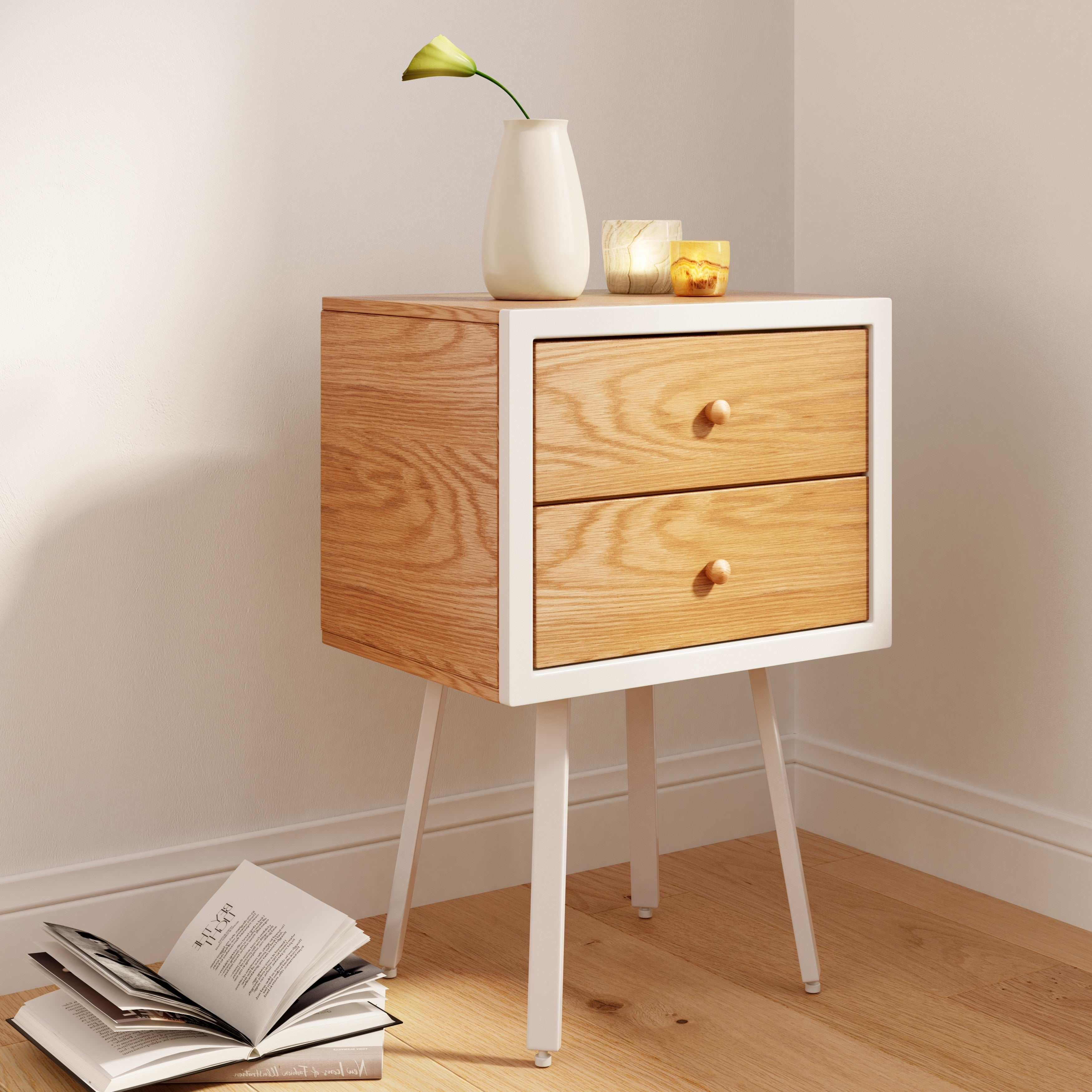 Universal Expert Abacus Oak and White Wood 2-drawer Modern Side Table