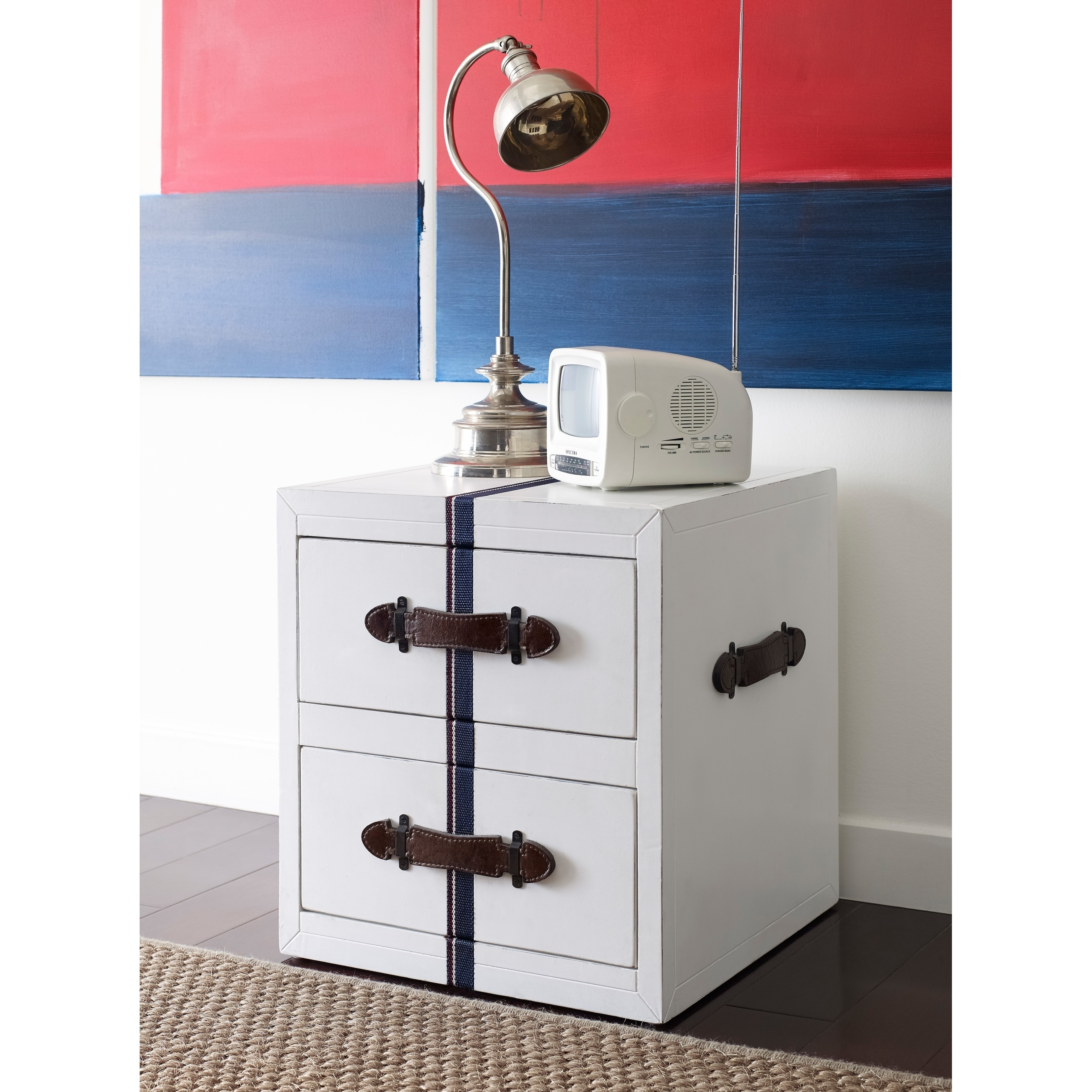 Tommy Hilfiger Fidelia Old White Finish Alderwood Side Table With Signature Webbing and Leather Pulls