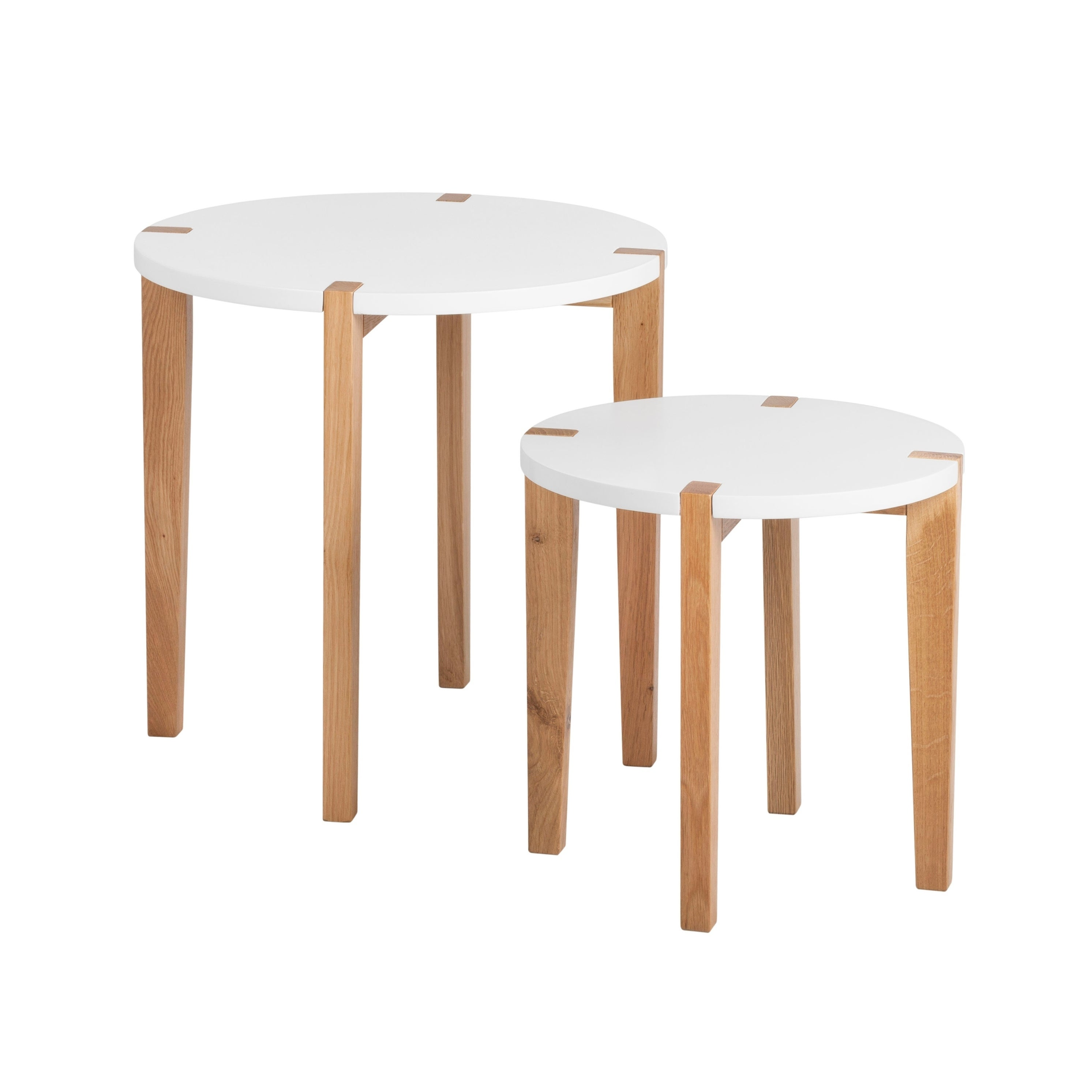 Universal Expert Abacus Modern White Oak Round Nesting Side Tables (Set of 2)