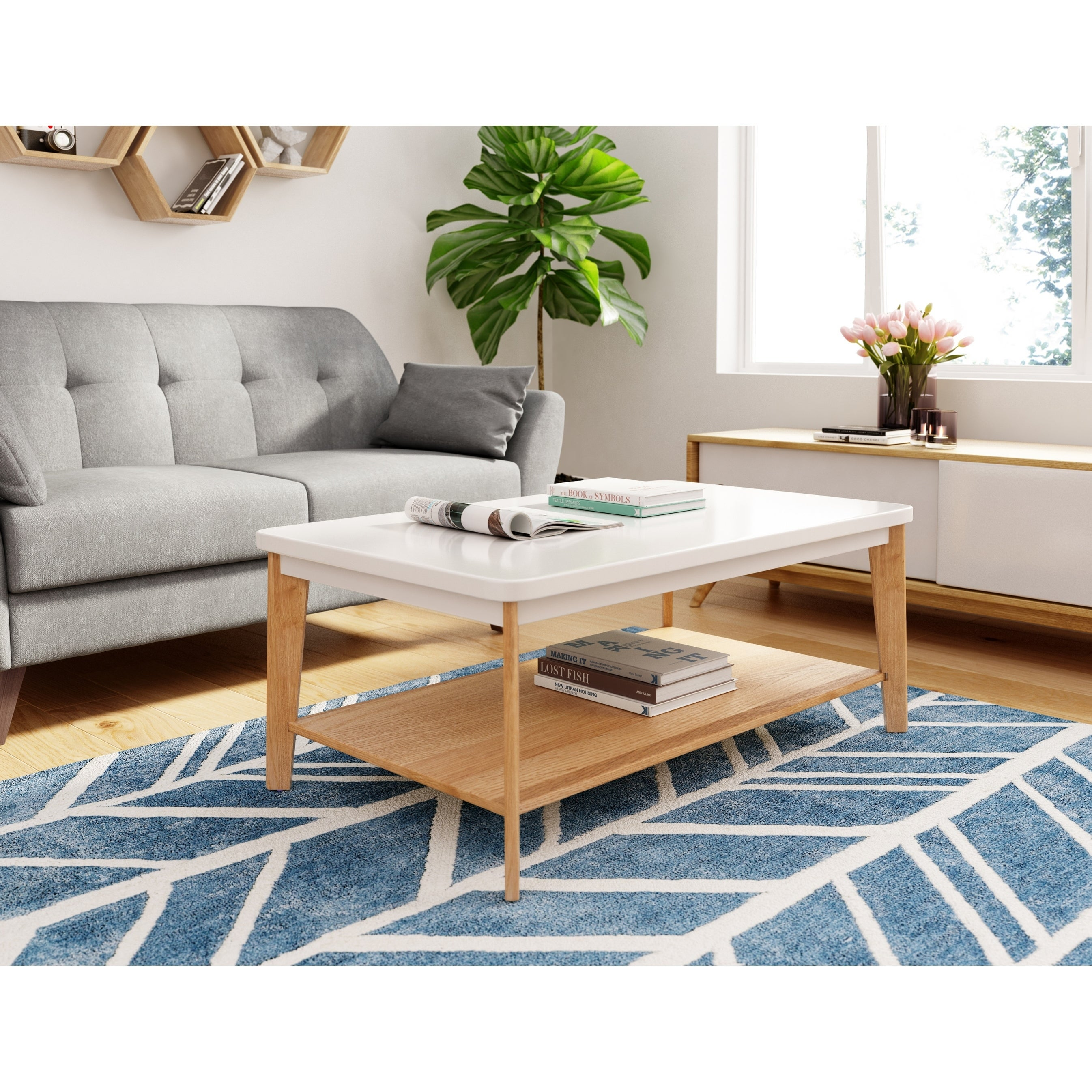 Universal Expert Remus Modern Oak/White Wood Coffee Table with Shelf