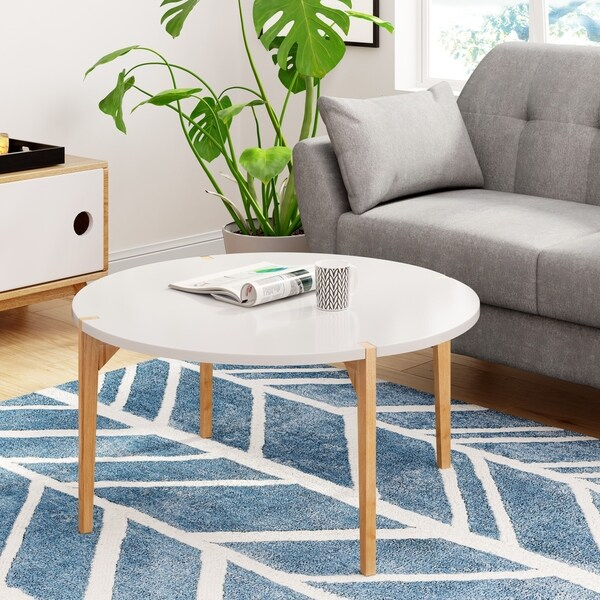 Universal Expert Abacus Round Coffee Table, Modern Oak and White