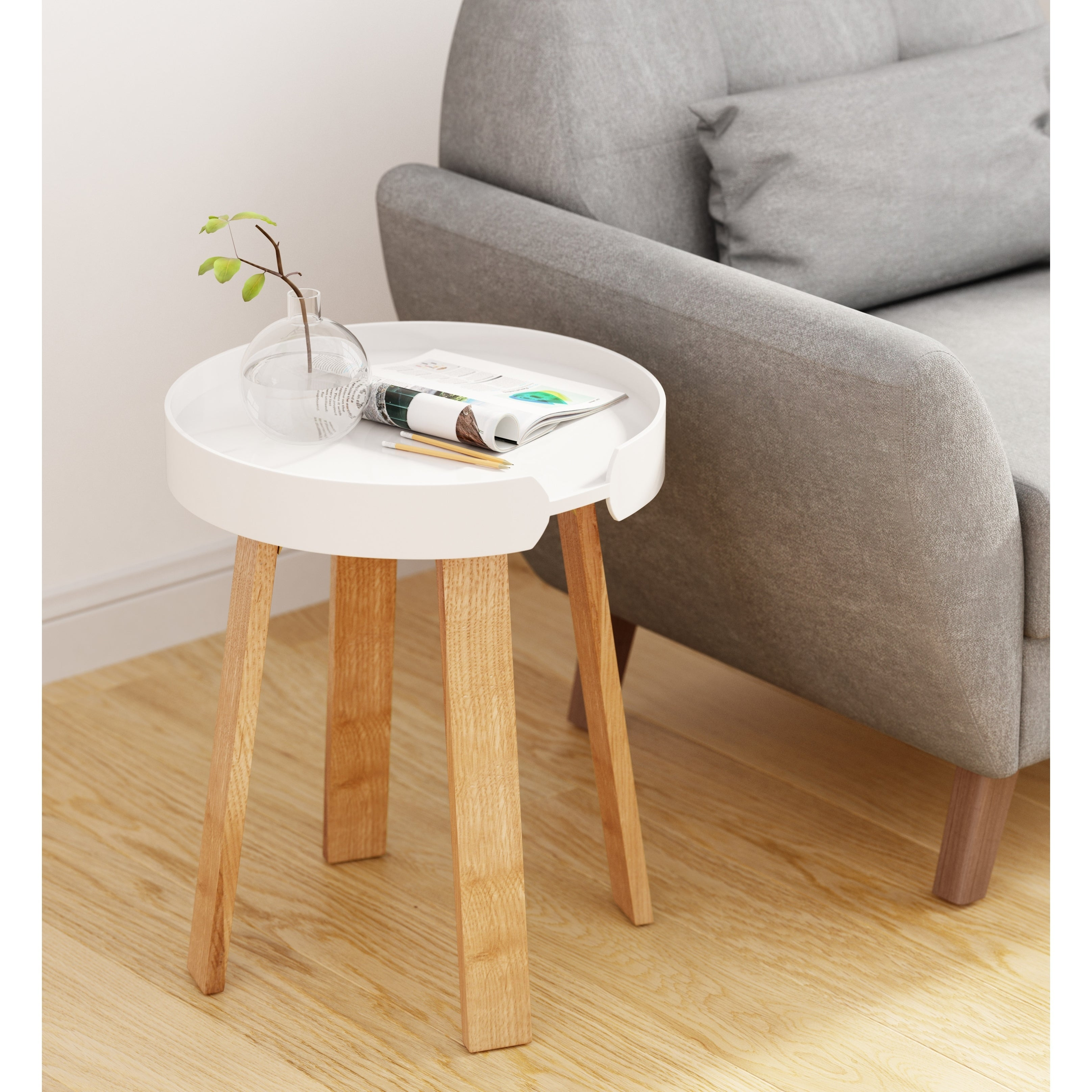 Universal Expert Remus Round Side Table, Modern Oak and White