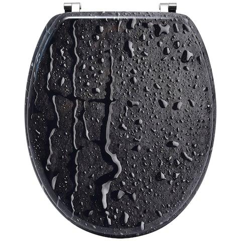 Oval Toilet Seat Water Drops Effect Adjustable Zinc Hinges - 17.5L X 14.12W x 2 H