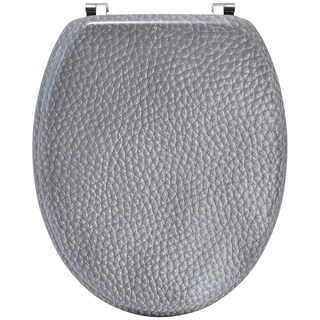 Evideco Oval Toilet Seat Leather Effect -3 Printed Sides-Adjustable Zinc Hinges- Grey