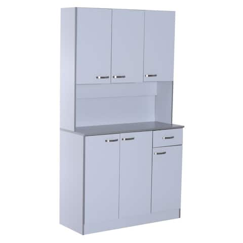 HomCom 71 Microwave Storage Cabinet with Doors and Shelves - White