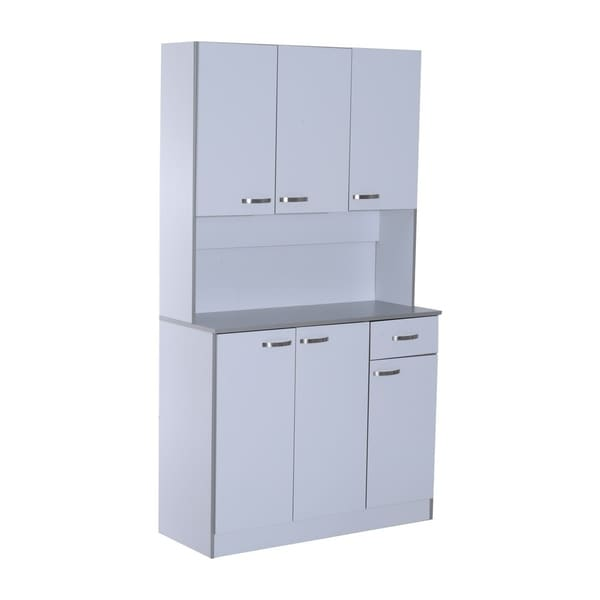HomCom 71 Microwave Storage Cabinet With Doors And Shelves   White