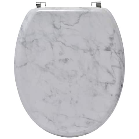 Oval Toilet Seat Marble Effect Adjustable Zinc Hinges- Ivory - 17.5L X 14.12W x 2 H