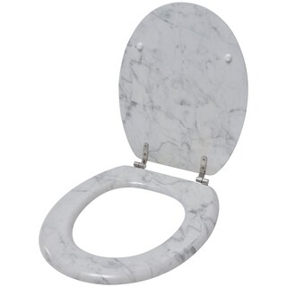 Evideco Oval Toilet Seat Marble Effect -3 Printed Sides-Adjustable Zinc Hinges- Ivory