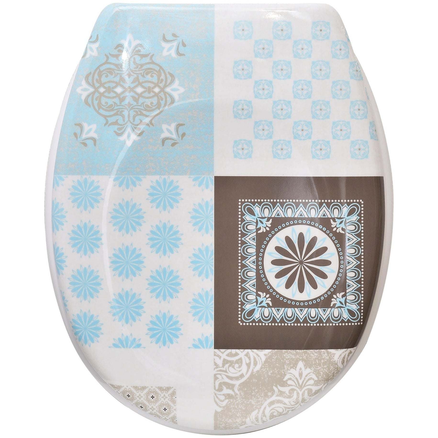 """Elongated Toilet Seat Designed 17/""""L X 14.6/""""W Evideco Printed Duroplast Oval"""