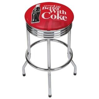Coke Chrome Ribbed Bar Stool - Coke Bottle Art