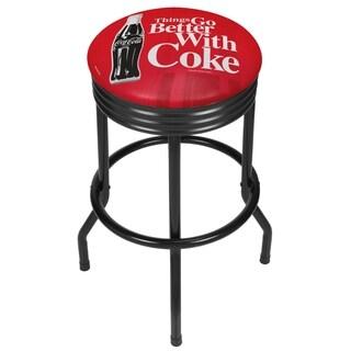 Coke Black Ribbed Bar Stool - Coke Bottle Art