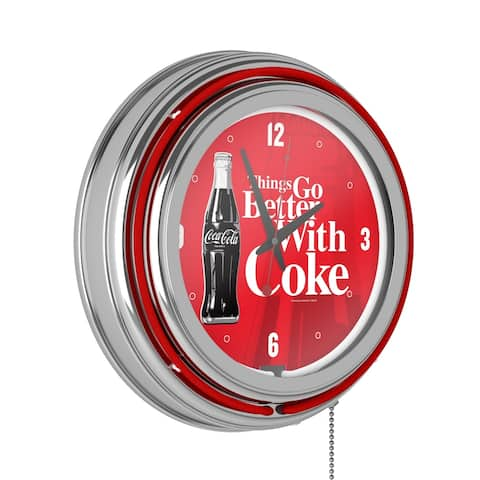 Coke Chrome Double Rung Neon Clock - Coca-Cola Things Go Better with Coke Bottle Art - Red - Things Go Better