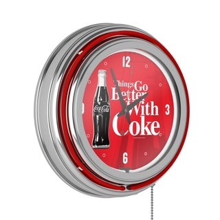 Link to Coke Chrome Double Rung Neon Clock - Coca-Cola Things Go Better with Coke Bottle Art - Red - Things Go Better Similar Items in Other Collectibles