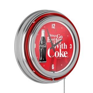 Coke Chrome Double Rung Neon Clock - Coca-Cola Things Go Better with Coke Bottle Art