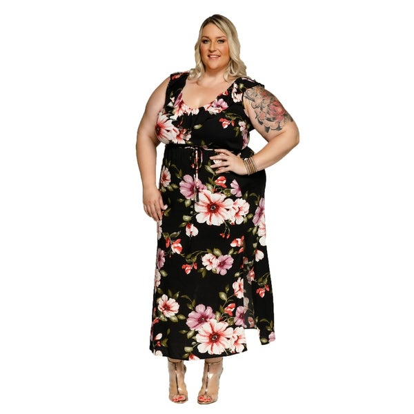 Xehar Womens Plus Size Floral Ruffle Long Maxi Beach Summer Dress