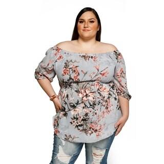 Xehar Womens Plus Size Off Shoulder Floral Print Chiffon Blouse Top