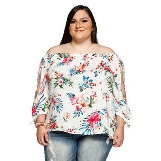 Xehar Womens Plus Size Off Shoulder Floral Slit Sleeve Blouse Top