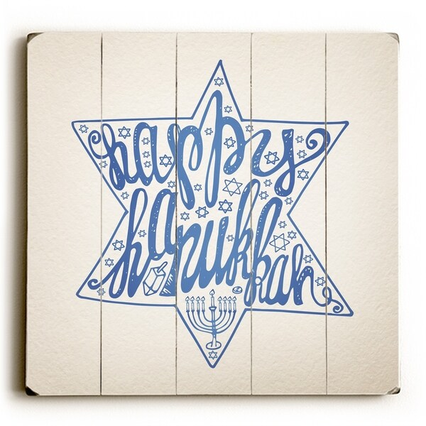 Happy Hanukkah Star - Tan Planked Wood Wall Decor by OBC