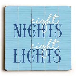 Eight Nights Eight Lights Blue - Blue  Planked Wood Wall Decor by OBC