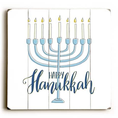 Happy Hanukkah Menorah - White Planked Wood Wall Decor by OBC