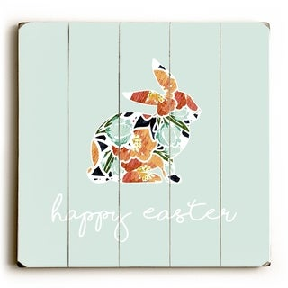 Floral Bunny - Mint  Planked Wood Wall Decor by OBC