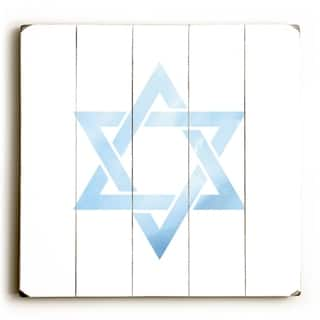 Star Of David Watercolor - White Planked Wood Wall Decor by OBC