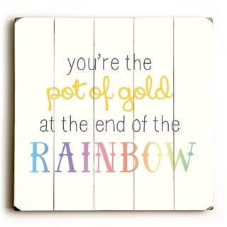 Pot Of Gold - Yellow  Planked Wood Wall Decor by OBC