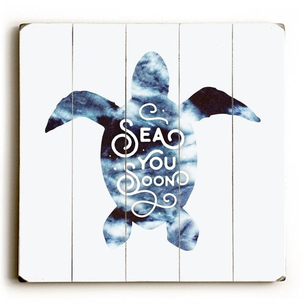 Sea You Soon - Navy Planked Wood Wall Decor by OBC