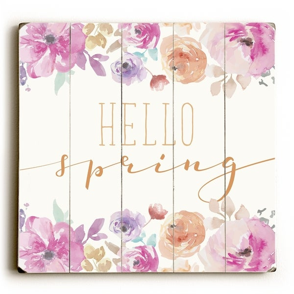 Hello Spring - Multi Planked Wood Wall Decor by OBC