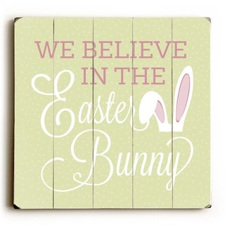 Believe In Easter Bunny Dots - Green  Planked Wood Wall Decor by OBC