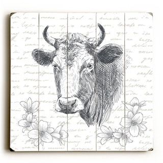Floral Cow - White  Planked Wood Wall Decor by OBC