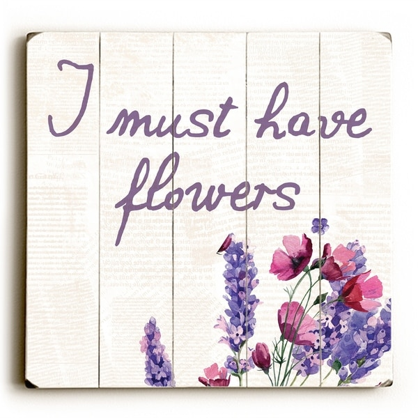 I Must Have FLowers Lavender - Tan Planked Wood Wall Decor by OBC