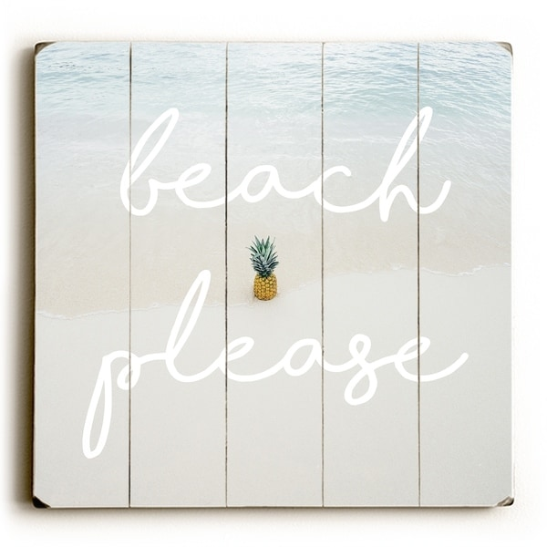 Beach Please Pineapple - Blue Planked Wood Wall Decor by OBC