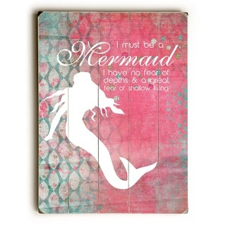 Must Be A Mermaid Scales - Multi  Planked Wood Wall Decor by Cheryl Overton