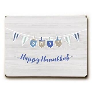 Happy Hanukkah Strand - Light Gray 9x12 Solid Wood Wall Decor by OBC - 9 x 12