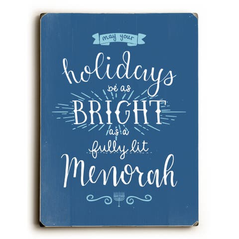 Fully Lit Menorah - Blue 9x12 Solid Wood Wall Decor by OBC - 9 x 12