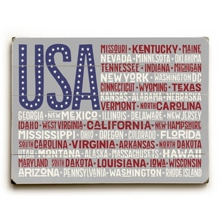 USA Flag Cities - Multi 9x12 Solid Wood Wall Decor by OBC - 9 x 12