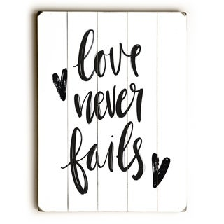 Love Never Fails - Black  Planked Wood Wall Decor by OBC