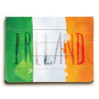 Irish Flag Watercolor - Multi  Planked Wood Wall Decor by OBC