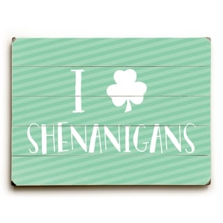 Shenanigans - Green  Planked Wood Wall Decor by OBC