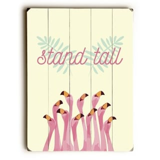 Stand Tall Flamingos - Yellow  Planked Wood Wall Decor by OBC