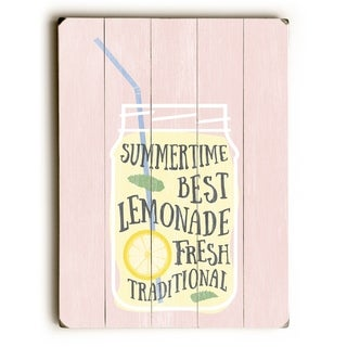 Summertime Lemonade Pink Texture - Pink  Planked Wood Wall Decor by OBC
