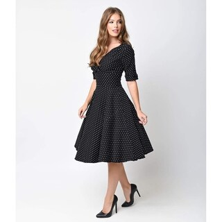 Unique Vintage Black & White Dot Delores Swing Dress